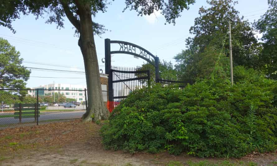 Oak Park entrance seen from where the swimming pool once was