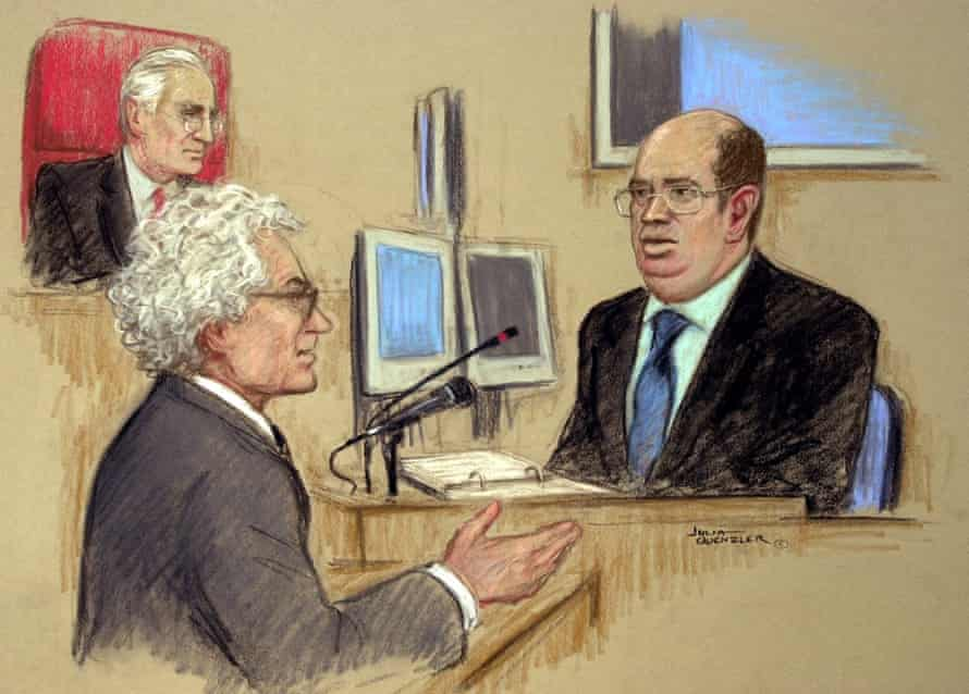 A courtroom sketch of Sumption questioning the BBC journalist Andrew Gilligan during the Hutton inquiry.