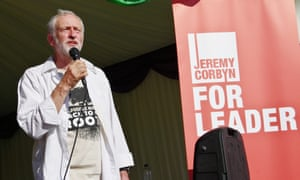 Labour leader candidate Jeremy Corbyn addresses the crowd in front of the Unison South West tent at this year's Tolpuddle Martyrs Festival.
