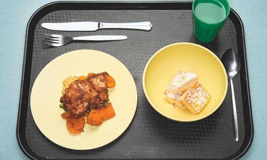 Fried chicken, tandoori carrots, dhal, coconut sponge.