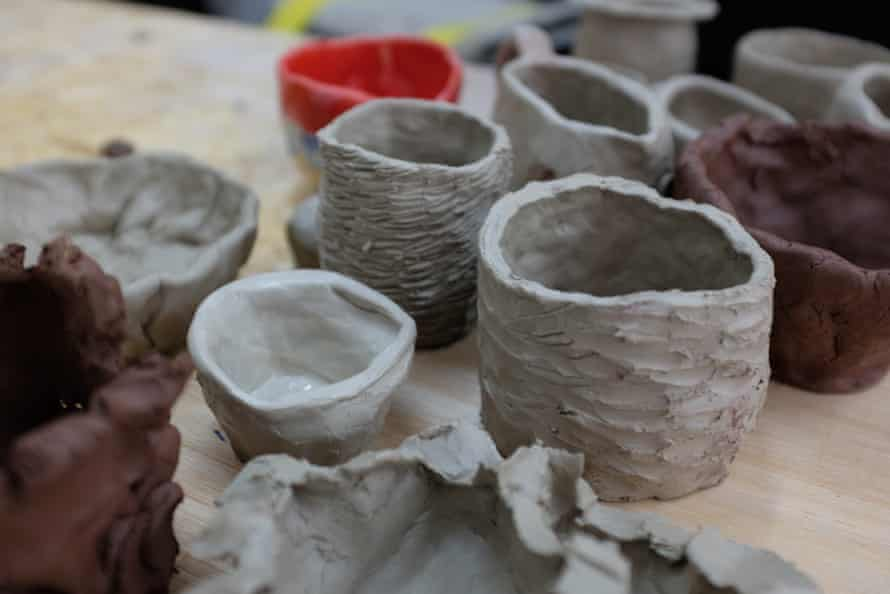 A line up of the finished pots