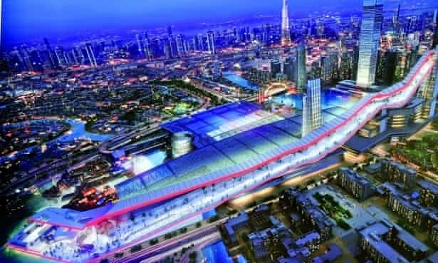 Publicity picture for the Meydan One complex which incorporates a giant indoor ski slope.