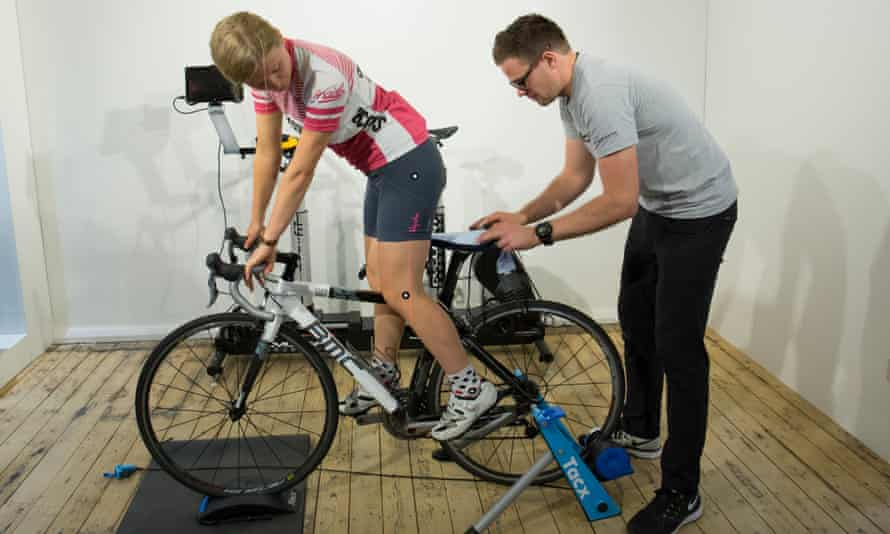 Helen Pidd's saddle pressure being measured by Morgan Lloyd at CycleFit in Manchester.