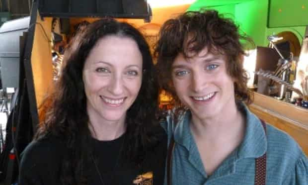 Roisin Carty with the actor Elijah Wood, with whom she worked on The Lord of the Rings.