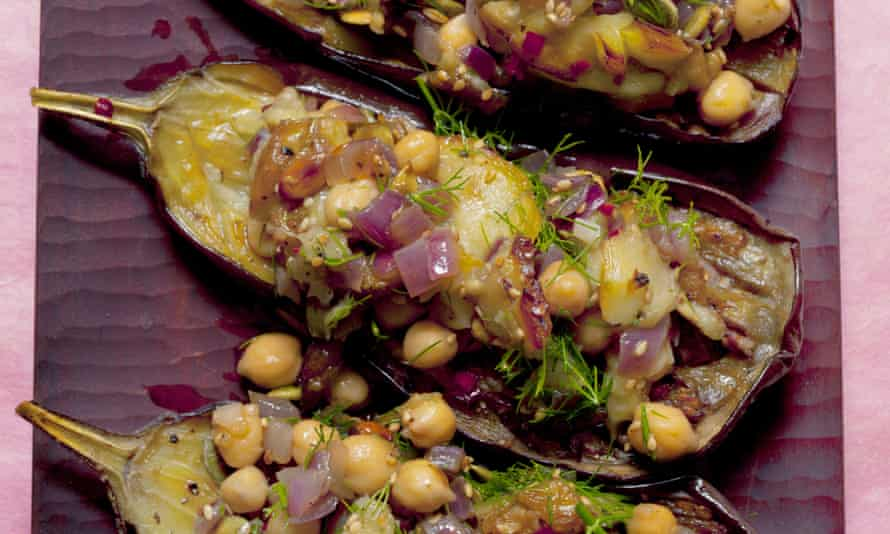 Sunshine on a plate: aubergine with chickpeas and sesame.