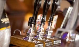 Beer pumps in a pub