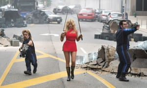 Alien attack: as Eddie, with Ashley Benson and Josh Gad in new film, Pixels.