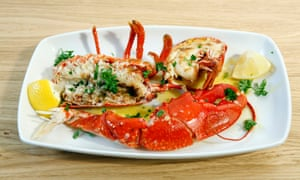 'So fresh that the garlic butter-grilled flesh slips from the shell like a depilated calf from a silk stocking': the lobster.
