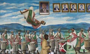 A painted mural with with portraits of Burundi's presidents past and present, in the National Assembly in Bujumbura.