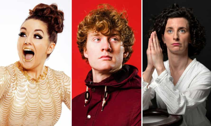 From left to right: Holly Burn, show selector James Acaster and Felicity Ward