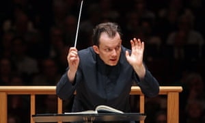 """Andris Nelsons leading the Boston Symphony Orchestra in Mahler's """"Symphony No. 6"""" , April 2015."""