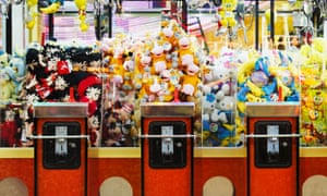 Cuddly toys in a machine at the fairground
