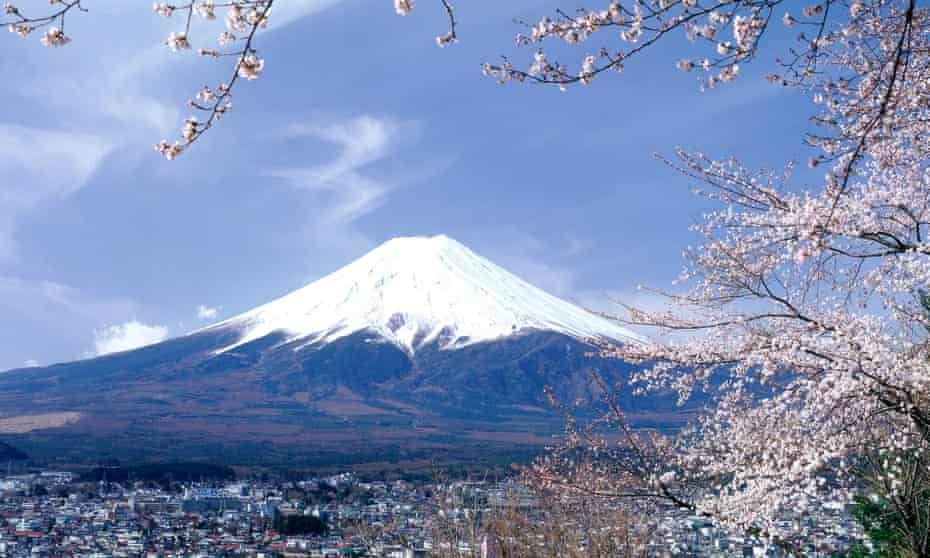 Mount Fuji with cherry blossom, Japan