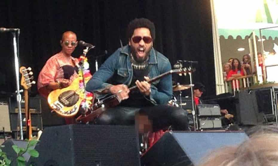 Lenny Kravitz, with pixellated crotch rip.