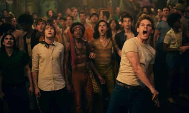 Love, not war ... Jeremy Irvine (right) in Stonewall