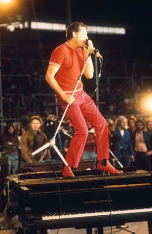 Jerry Lee Lewis performs at The London Rock and Roll Show, August fifth, 1972, the first concert to be held at Wembley Stadium