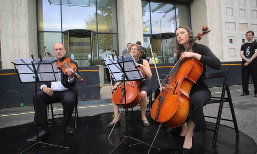 The Crystal Palace Quartet performing the opening recital of Requiem for Arctic Ice outside Shell's offices on the South Bank, London.