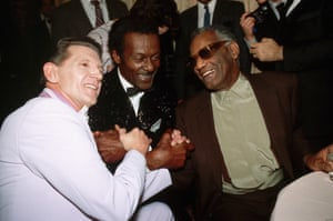 Jerry Lee Lewis, Chuck Berry and Ray Charles attend the first rock and roll hall of fame, Cleveland, Ohio, 1986