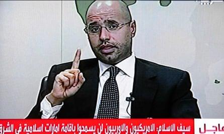 Saif al-Islam Gaddafi on Libyan state television