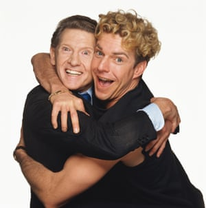 Jerry Lee Lewis and Dennis Quaid in publicity photo for biopic Great Balls of Fire in which Quaid stars.