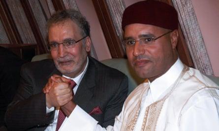 Posing with Abdelbaset al-Megrahi