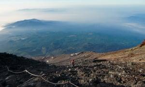 Hiking on Mount Fuji, Japan.