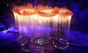 The Olympic rings light up the stadium during the Opening Ceremony at the 2012 Summer Olympics