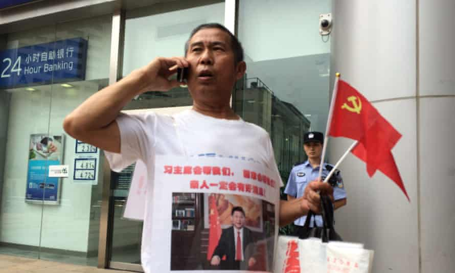 Zhang Yongli, one of the relatives protesting outside Malaysia Airlines' Beijing office.