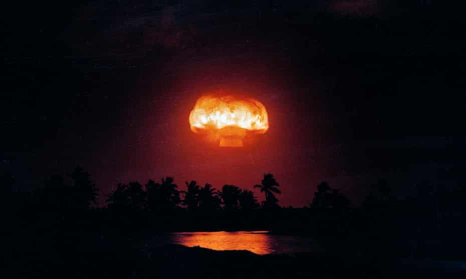The nuclear blast from Operation Dominic near the Christmas Island in the Pacific ocean