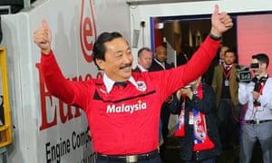 Cardiff City owner Tan Sri Vincent Tan celebrates winning promotion to the Premier League