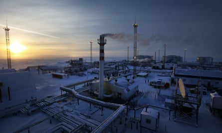 A Gazprom oilfield on Russia's arctic shoreline in February 2015. Once one of the most valuable companies in the world, its share price has taken a bigger fall than any major company operating today.