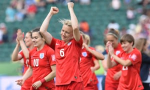 England players celebrate after finishing third in the 2015 Women's World Cup