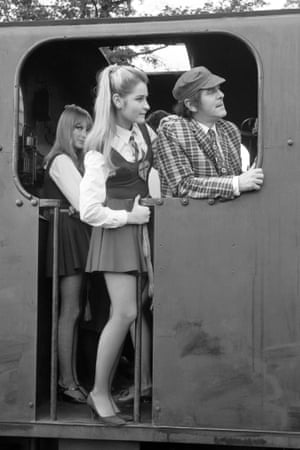 George Cole on location for the filming of The Great St Trinian's Train Robbery at Longmoor army camp, Hampshire.