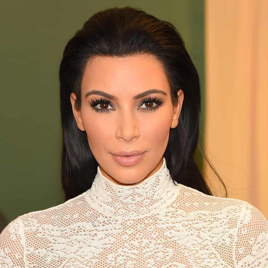 Bake-up: Kim Kardashian shows off her under-eye 'baking'.