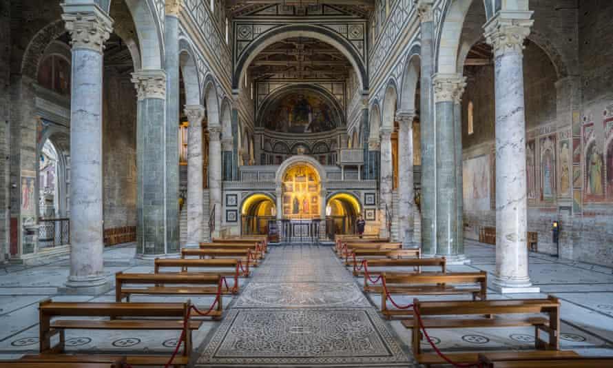 Looking towards the gold-leaf altar of San Miniato al Monte church.