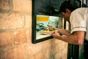 A meal on the serving hatch of O'Reilly 304 restaurant, Havana