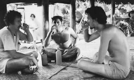 Bryan Di Salvatore, Viti Savaiinaea, and William Finnegan in Sala'ilua, Savai'i, Western Samoa, 1978