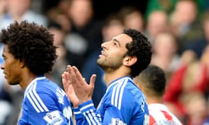 Chelsea's Mohamed Salah after scoring against Stoke City in the Premier League