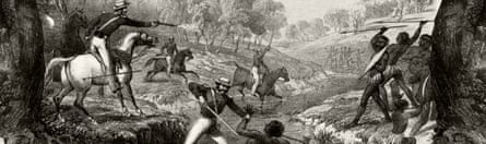Godfrey Charles Mundy's depiction of the 1838 Slaughterhouse Creek massacre.