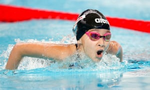 Alzain Tareq of Bahrain competes in the women's 50m butterfly heats.