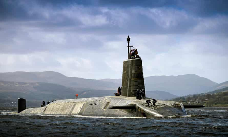 Royal Navy Vanguard Class submarine HMS Vigilant returning to HMNB Clyde after her deployment. The four Vanguard-class submarines form the UK's strategic nuclear deterrent force. Each of the the four boats is armed with Trident 2 D5 nuclear missiles.