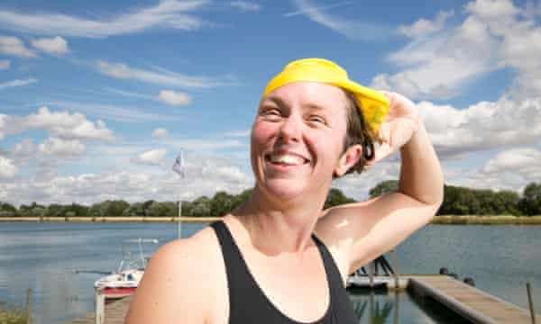 Susan Gardner at Box End Park lake. Open-water swimming is growing in popularity with women of all ages.