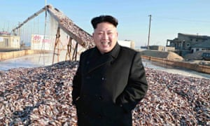 North Korean leader Kim Jong-un at fishery plant