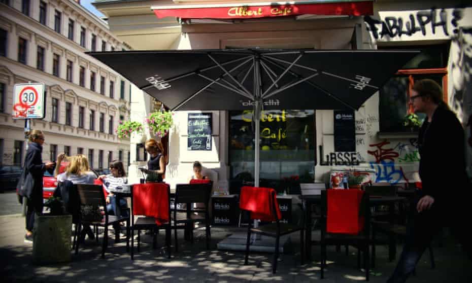 A quiet summer afternoon at Albert Cafe on Karl-Heine-Strasse in Plagwitz, Leipzig.