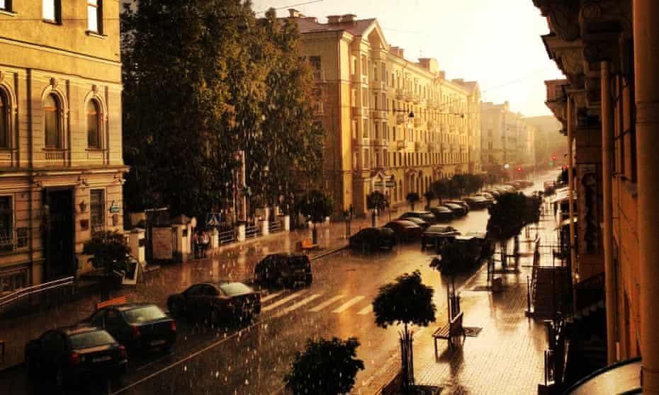 Karla Marksa Street's buildings hark back to Stalin's empire.