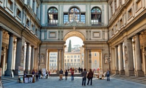 Vasari Corridor of Galleria degli Uffizi.