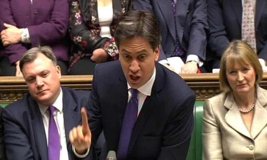 Harman in 2014 as deputy leader of the Labour party while the then party leader Ed Miliband speaks in the House of Commons.