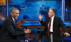 President Barack Obama, left, appears with Jon Stewart in July.
