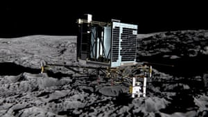 An artist's impression of the Rosetta mission's lander, Philae, which is on the surface of comet 67P.