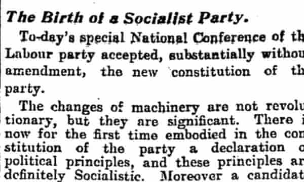 Labour's 1918 constitution. Manchester Guardian, 27 February 1918. Read in full.